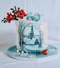 Winter nostalgia - cake by alenascakes Cow Cakes, Cupcake Cakes, Christmas Themed Cake, Christmas Cakes, New Year's Cake, Glass Cakes, Painted Cakes, Novelty Cakes, Holiday Cakes