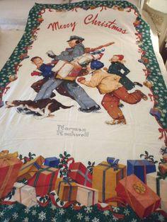 Merry Christmas Postman Norman Rockwell Wamsutta Hallmark Door Sz Sewing Panel  #WamsuttaHallmark