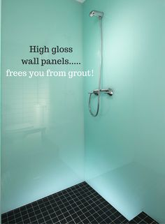 Wouldn't it be excellent to be able to stop cleaning the grout off your shower walls? Love this idea of high gloss grout free shower wall panels. This glacier color is sleek, cool and easy to clean. Get 7 ways for a simpler shower in this article. Shower Grout, Bathroom Shower Panels, Diy Shower, Corian Shower Walls, Shower Door, Bath Shower, Shower Ideas, Steampunk Kitchen, Paneling Makeover