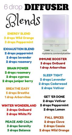 Running low on diffuser recipe ideas? Try these out! From energy to sleep, motivation to calm, immune boosting to breathing easy, I've got you covered.   6 Drop Diffuser Blends   Don't have oils yet? No problem. Check out how to … Continued