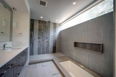 Bathroom:Modern Sunken Tub Shower Combo Modern Jacuzzi Combination Modules Units Bathtub Shower Combo Small Bathrooms With Handshower Glass . Grey Modern Bathrooms, Grey Bathrooms Designs, Modern Master Bathroom, Modern Bathroom Design, Bath Design, Beautiful Bathrooms, Roman Bathroom, Master Baths, Luxury Bathrooms