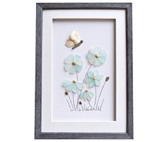 Sea glass art Genuine beach glass flowers and by PebbleArtDream