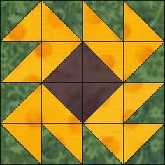 Half Square Triangle Quilts Pattern, Quilt Square Patterns, Barn Quilt Patterns, Patchwork Quilt Patterns, Pattern Blocks, Barn Quilt Designs, Quilting Designs, Quilting Projects, Sunflower Quilts
