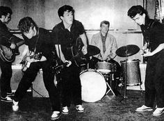 Stuart Sutcliffe, John Lennon, Paul McCartney, Pete Best and George Harrison.