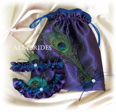Peacock Feather Bridal Garters and Drawstring Bag in Lapis and Teal