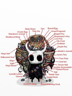 Hollow Knight with all his Stuff Design Reference, Drawing Reference, Illustrations, Illustration Art, Team Cherry, Hollow Night, Hollow Art, Knight Art, Fan Art