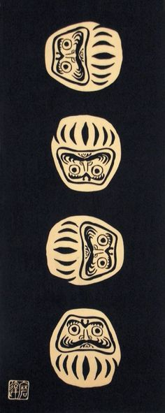 Japanese Tenugui Towel Cotton Fabric, Chic Black Daruma Doll Traditional Art Design, Wall Art Hanging, Gift Wrapping, Headband, Scarf, JapanLovelyCrafts