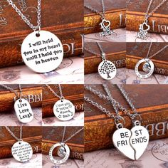 Family In My Heart Love Husband Wife Best Friends Silver Plated Pendant Necklace Collier Gifts
