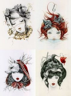 Sleeping Beauty, The Little Mermaid, Red Riding Hood & Snow White by Courtney | http://tattoo152.blogspot.com