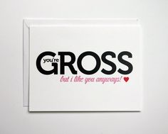 Funny Valentines card by thunderpeep on Etsy, $4.00