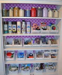 Hummm never thought about putting touch up paint in mason jars to save room & their clear!