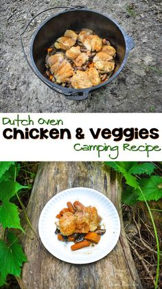 #Camping Chicken and Veggies in Dutch Oven Recipe - Need an easy camping recipe? Try this simple chicken and vegetables recipe that is made in the dutch oven. It tastes amazing!