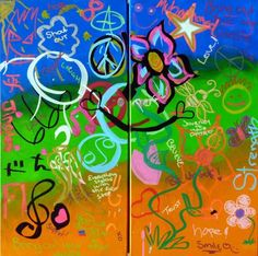 United Synergies Youth Connections 2012 2x 12in x 24in Doodle (team building, ice breaker, wedding reception, fundraiser - Noosa, Sunshine Coast, Brisbane and Gold Coast) - inspirational group paintings using doodles #DoodleJam http://www.doodlejam.com