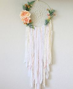 Large Crochet Dream Catcher in Cream with Florals // Inspired by a custom order that wanted FLOWERS! BarnyardPeacock yarn wall hangings are the perfect addition of soft color and texture for your modern bohemian home or Country Cottage.     Beautiful as a stand alone piece and also excellent at breaking up the straight lines of gallery walls, Large Crochet Dream Catcher in Cream with Florals will add vibrancy and depth to your home. Perfect as Birthday, anniversary, Nursery, or housewarming…