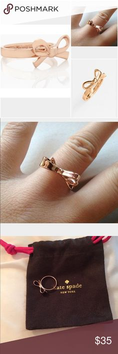 Kate Spade Bow Ring Gorgeous Kate Spade Bow Ring in gold . Great pre-loved…