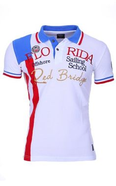 Redbridge Herren Polo Shirt R-41202 Slimfit für Männer bestickt, Grösse:L;Farbe:Weiß
