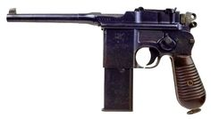 "Mauser C-96 ""broomhandle"", 10 round mag, 196ft range, short recoil, used by Germany in WWI"