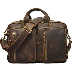 896177d5c7 Handmade Leather Briefcase Convertable Backpack Messenger Shoulder Handbag  Leather Backpack CN3565