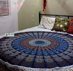 Folk Large Round Blanket - Large Fringe Mandala Blanket, Mandala Rug, Mandala Design, Indian Home Decor, Unique Home Decor, Beautiful Wall, Beautiful Beach, Round Table Covers, Cheap Room Decor