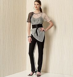 From Zandra Rhodes for Vogue Patterns. V1508 sewing pattern includes Misses' Pointed-Hem Top, Tapered Pants and Belt