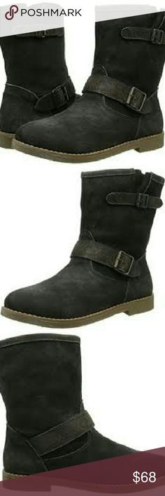 """Coolway ADAM Black Suede Moto boots NWB Black Suede Distress Moto boots by Coolway Style name - Adam, Color Black, Distressed by Manufacturing. Pull On.. Embellished by straps and buckles. Heel 1 1/2"""". New with Box. Coolway Shoes Combat & Moto Boots"""