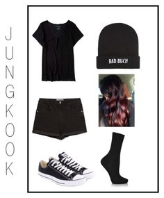 """""""Jungkook's Ideal Type"""" by goahlis ❤ liked on Polyvore featuring Aéropostale, Zara, Falke, Converse, Kill Brand, bts, srry and IdealTypes"""