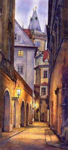 Prague Old Street  Poster By Yuriy  Shevchuk: