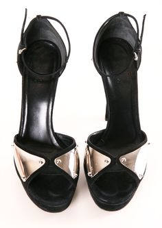 Gucci Black Suede Heels with Metal Plates