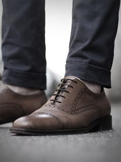 cuffed pants brown oxford wingtip shoes