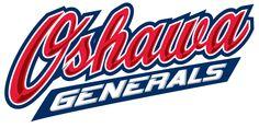 Oshawa Generals Primary Logo (2007) - Oshawa in red script above a blue underscore with Generals in white