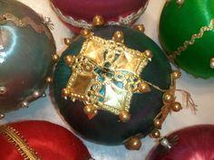 Vintage Satin Ball Christmas Ornaments Large Decorative