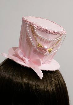 Sweet Baby Pink and Gold Candy Lolita Mini Top Hat