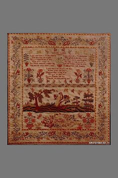 Embroidered Sampler Maker: Jane Rogers Date: 1800–1830 Geography: England Culture: British Medium: Embroidered silk on wool Dimensions: 22 x 20 1/2 in. (55.9 x 52.1 cm) Classification: Textiles