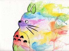 Totoro watercolor painting...i like this for Easter and Spring.....