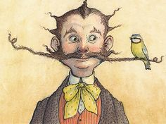Weird & Wonderful Wednesday. A bird in the moustache is worth two in the hand...  Illustration by Petra Brown: http://www.petrab.co.uk/