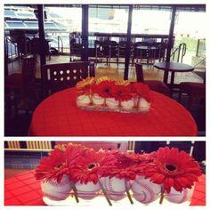 Gerber daisies & baseball centerpieces