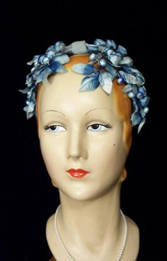 Vintage Blue Ombre Pearl Berries Velvet Flower Buds Leaves Bow Bandeau Hat~50s