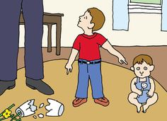 In some cases a child's lie may have more than one motive. Here, the child who denies he is responsible for the broken vase aims to accomplish two things at once: to protect himself from punishment and to make his younger sibling feel shame (falsely) for an act of mischief.  Illustration by Tom Dunne.  http://www.americanscientist.org/issues/feature/2015/2/origins-of-lying-and-deception/99999  #Children #Kids #Lying #Psychology #Science