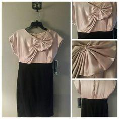 🚨SALE🚨JONES OF NEW YORK BLACK/CHAMPAGNE DRESS NWT JONES OF NEW YORK BLACK/CHAMPAGNE  RUFFLED BOW BLOUSE, SIZE 6 LENGTH 29 IN,.BACK ZIPPER Jones New York Dresses