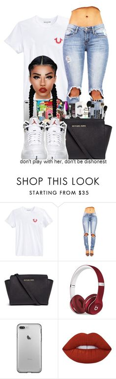 """RisingSun12s"" by ballislife ❤ liked on Polyvore featuring True Religion, Michael Kors, Beats by Dr. Dre, Retrò and Lime Crime"