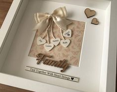 Personalised Box Family Frame- family tied together by heart strings Hobbies And Crafts, Crafts To Make, Arts And Crafts, Box Frames, Frames On Wall, Picture Letters, Letter Pictures, Picture Frames, Frame Crafts