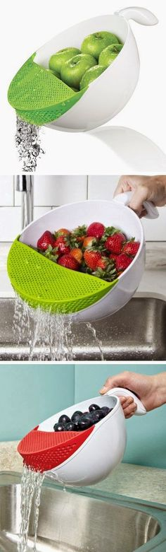 Soak and Strain Washing Bowl ... #holiday gift #kitchengadgets #iheartkitchengadgets