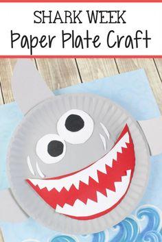 Shark Paper Plate Craft For Kids DIY - Crafts and Activities for diy crafts with paper plates - Diy Paper Crafts Paper Plate Crafts For Kids, Diy Crafts For Kids, Easy Crafts, Kids Diy, Arts And Crafts For Kids Toddlers, Creative Crafts, Craft Activities, Preschool Crafts, Shark Activities