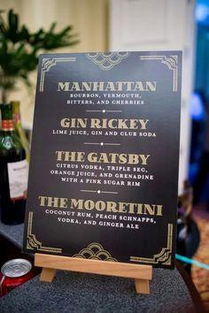 Great Gatsby inspired drink menu. Menu by: Touies Design