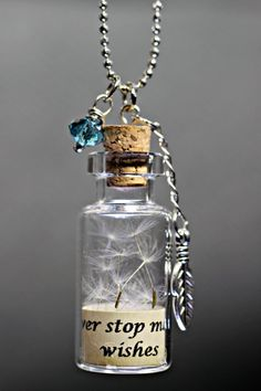 Dandelion Seed Necklace Wish Necklace Dandelion Necklace Bottle Jewelry, Bottle Charms, Bottle Necklace, Jar Jewelry, Jewlery, Glass Bottle Crafts, Mini Glass Bottles, Small Bottles, Glass Vials