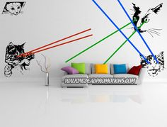 Full wall decal of Giant Laser Cats by Walkingdeadpromotions