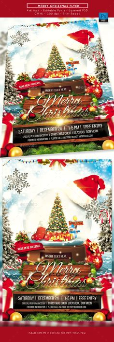 Merry Christmas Flyer. Perfect as your Christmas day flyer, merry christmas flyer, Christmas party flyer, Christmas event or celebration flyer, Christmas invitation, Xmas flyer, Happy Holiday flyer, toy drive flyer, etc. File Details :  Fonts are editable  Layered PSD  CMYK 300 dpi print ready  File size is 4x6 inch with 0.125 inch bleeds on e