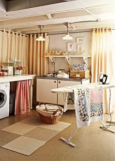 20 Budget Friendly But Super Cool Basement Ideas. Curtains for wall cover and partitions