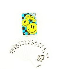 """Mini Smile Playing Cards by Century Novelty. $4.32. Put a Smile on your Face with Smiley Party Favors! The Mini Smile Playing Cards are a great smile face favor for all your party guests. A great toy to please kids of all ages. Plastic card case is 1 3/4"""" long and 2 1/2"""" wide. Actual deck of playing cards are 1 1/2"""" long and 2 1/4"""" wide. Sold in small plastic case. Bring out the smiley faces with smile face party favors. No matter what the occasion, a smiley fac..."""