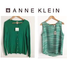 Anne Klein Sweater Sz L & Cami Sz M. Color is a bit brighter than pictures show. Great way to welcome Spring to the office. Purchased at Macy's for self a few months ago, gained weight and never wore. Great for pear shape (like me). Anne Klein Tops